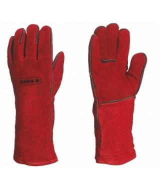 Guantes de soldador cocido con hilo kevlar rojo