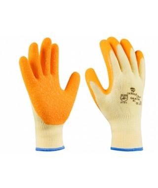 Guantes sin costura con recubrimiento latex rugoso naranja.